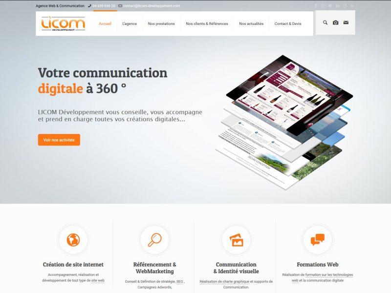 Imprim écran du site licom-developpement.com