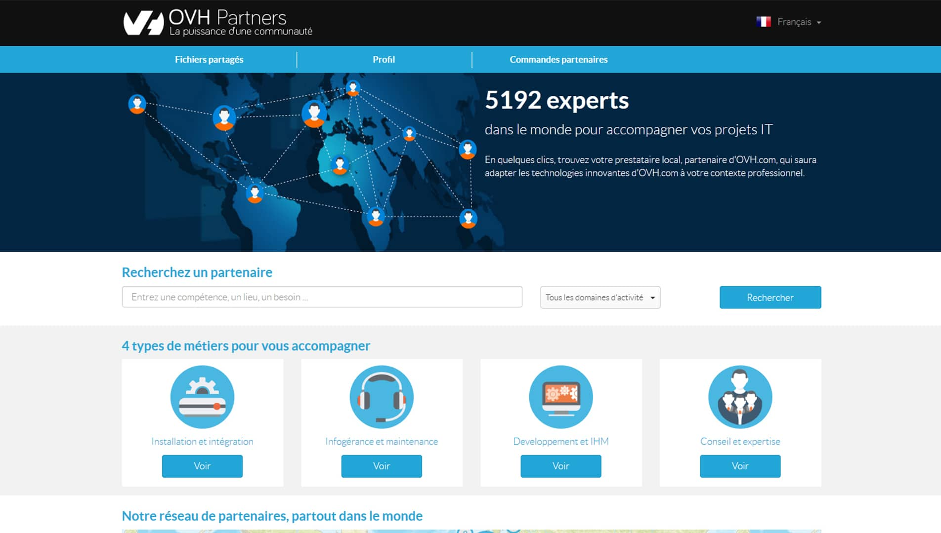 Capture écran site OVH Partners