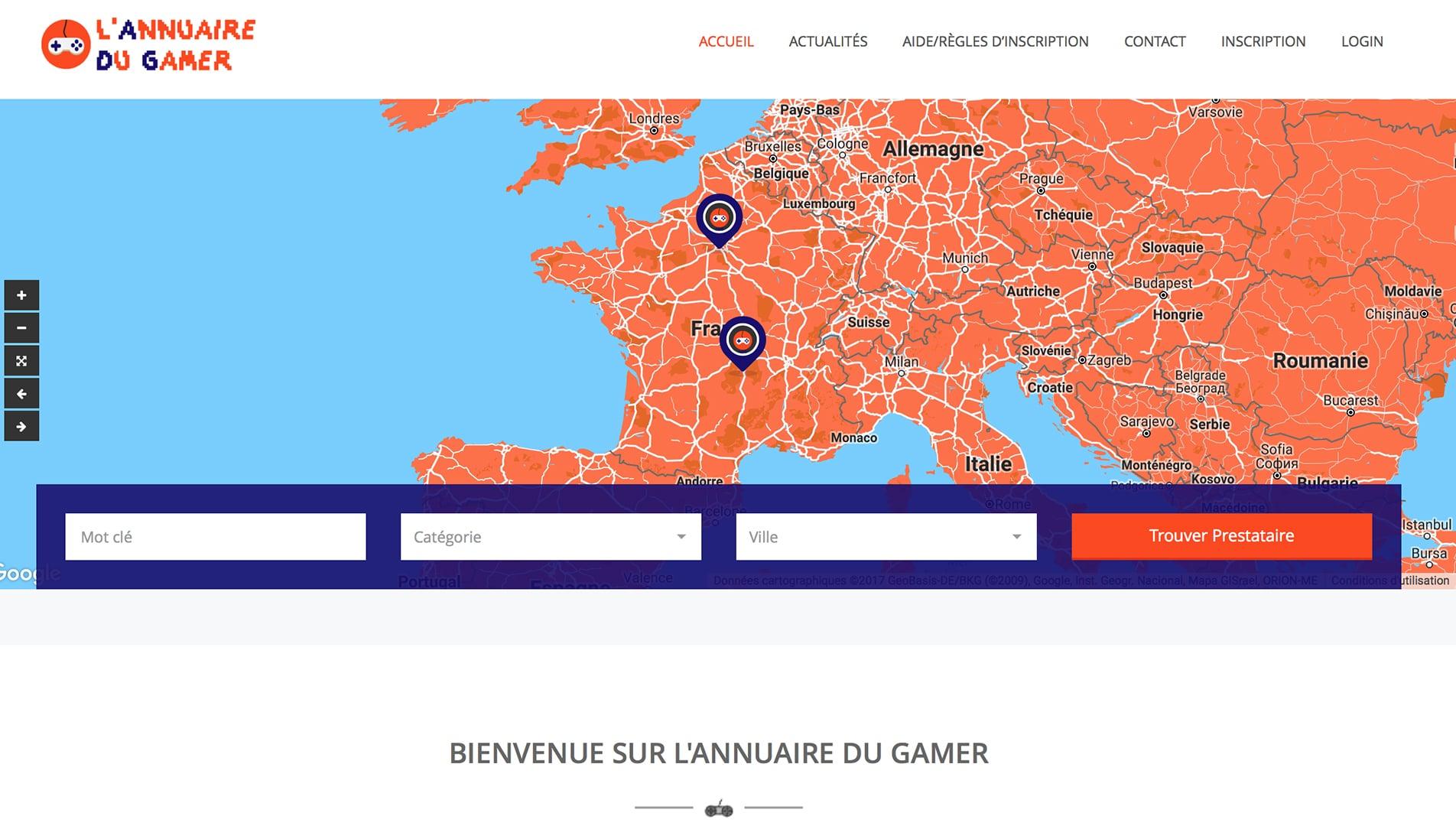 Capture écran site annuairedugamer.fr