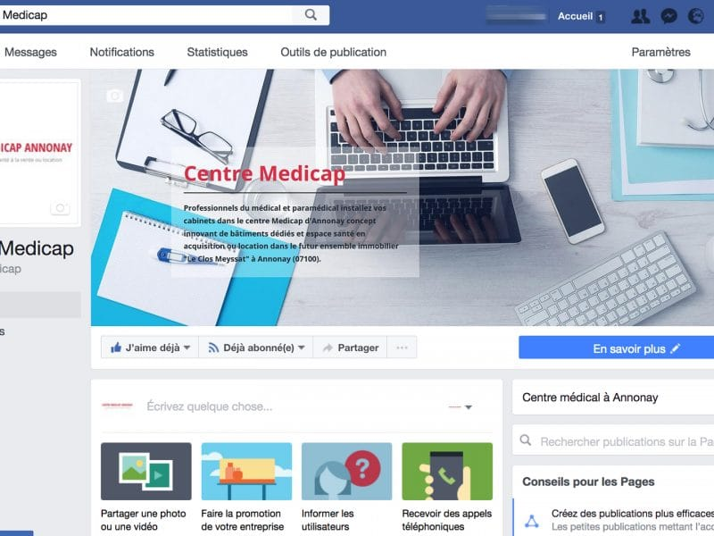 Capture écran facebook Centre Medicap annonay