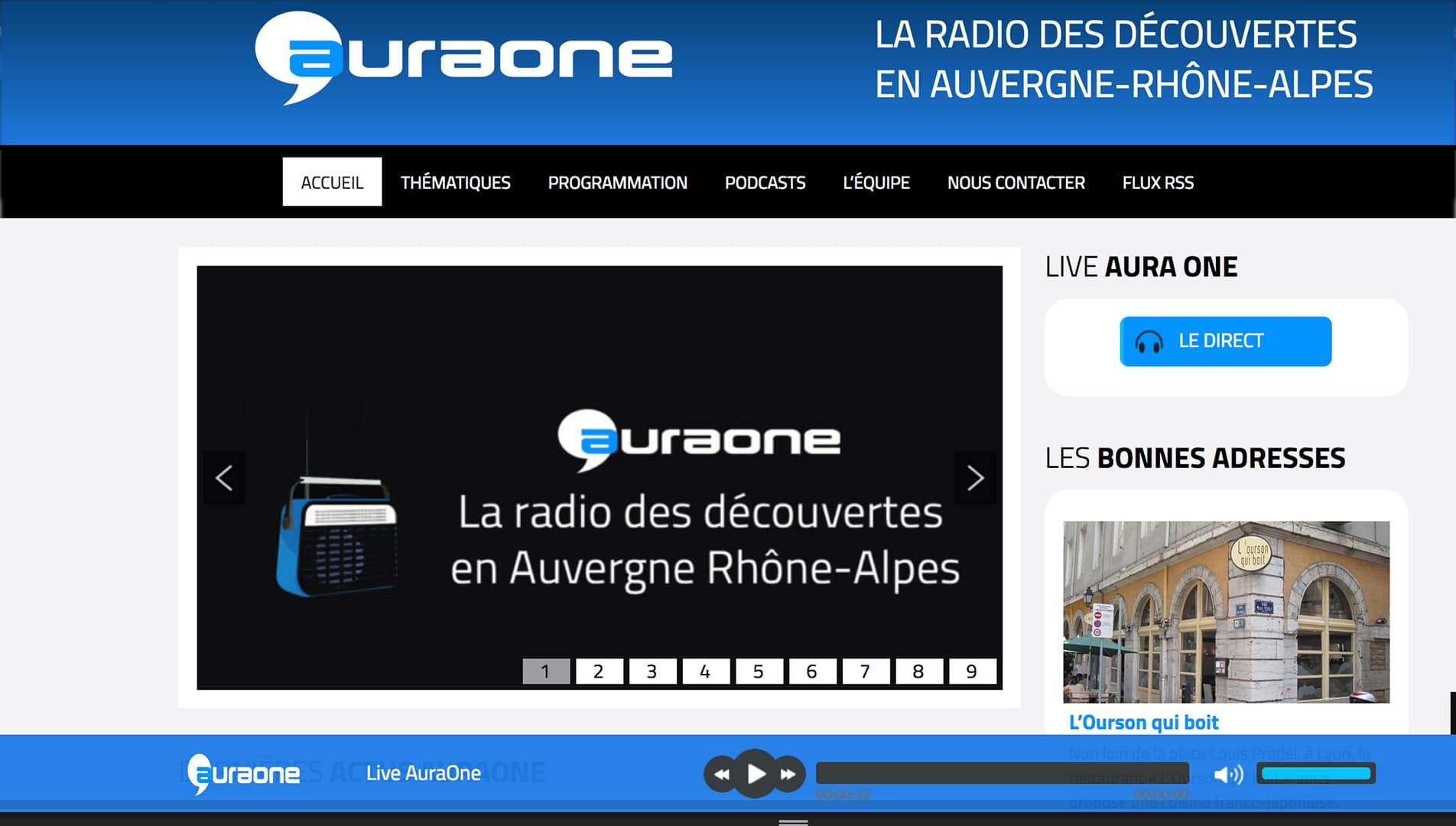 Capture écran site webradio auraone